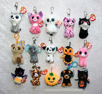 Wholesale Hot Toys Simulation - HOT sale 4inch super soft TY beanie boos Plush Toys keychain simulation animal TY Stuffed Animals Pendant Keychain