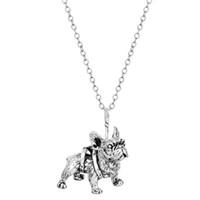 Wholesale Miniature Bronzes - Wholesale-ONE PIECE Realistic French Bulldog Miniature Animal Shaped Pendant Necklace in Bronze Silver Boho Bijoux For Men Women