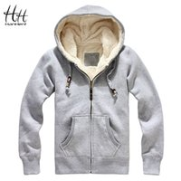 Wholesale Sheep Hoodie - Wholesale- HanHent Sheep Velvet Thickened Men Winter Coats Thick Wool Warm Hoodie Sweatshirts 2016 New Fashion Men Clothing Cashmere AG0015