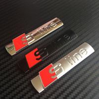 Wholesale black s line badges resale online - 4000pcs Factory Sale Sline S Line Metal Chrome Matt silver Black Stick Emblem D Car AUTO Rear Badge