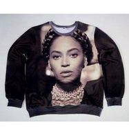 beyonce baskı toptan satış-Gerçek ABD boyutu cutom Beyonce Fashion3D Sublimation baskı Kazak Crewneck Artı Boyutu yaptı