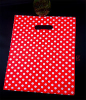 Wholesale Large Bag Plastic Package Packaging - Wholesale-Wholesale 50pcs lot 25X35cm Large Plastic Shopping Bags For Boutique Packaging White Round Dots Red Plastic Gift Bag With Handle
