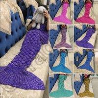 Wholesale Crochet Christmas Bag - Knitted Mermaid Tail Blanket 140*70cm For Kids Soft Warm Handmade Crochet Sleeping Bag Air Condition Blanket Christmas Gift OOA939