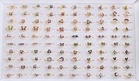 Wholesale Gold Jewerly Sets - wholesale jewerly Lots of 100pcs Austria Rhinestone Silver plated adjustable Rings for children or Adult