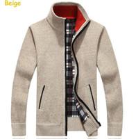 sweater sweater venda por atacado-Gola Alta Completa Zip Cardigan Mens Jumpers Marca de Natal Roupas Masculinas de Inverno Grosso Casaco de Cashmere Camisola Dos Homens Da Marca de Malha