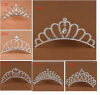 Wholesale Wholesale Rhinestone Hair Combs - Show princess Crown Princess combs Mini Twinkle Rhinestone Diamante Bridal Princess Crown Hair Comb Hair Clip Tuck Tiara Party Wedding