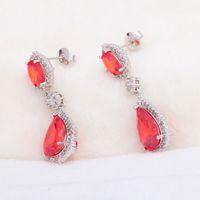 Wholesale wonderful earrings - Brand Designer Charming Earrings for Ladies Silver filled Wonderful Fashion Jewelry Orange Crystal Stud Earrings JE969A