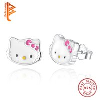 Wholesale Sterling Silver Earrings Cats - BELAWANG Lovely Cute Kitty Cat Stud Earring Fashion Jewelry 925 Sterling Silver Cartoon Animal Stud Earring For Women with Pink Bow Knot