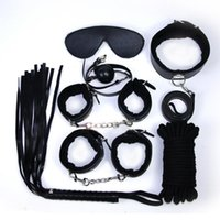 Wholesale Handcuffs Whips Mask Set - Adult Games Sex Bondage 7pcs Set Leather Handcuffs Gag Whip Mask Erotic Toy Fetish Adult Sex Restraints Sex Toy For Couples Q