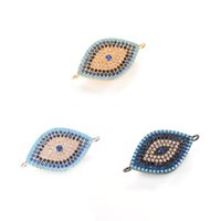 Wholesale Hamsa Connector Charms - Top Quality 3 Colors ECO-Friendly Hamsa Hand Evil Eye Zircon Micro Pave Charm, Connector, ICSP039, Size 23.1*15.6mm