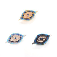 Qualidade superior 3 cores ECO-Friendly Hamsa Hand Evil Eye Zircon Micro Pave Charm, Connector, ICSP039, Tamanho 23.1 * 15.6mm