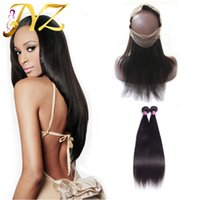 Wholesale 2pcs Malaysian Hair Straight - Malaysian virgin hair straight with closure 360 lace frontal with bundles virgin human hair extensions straight 2pcs with frontal