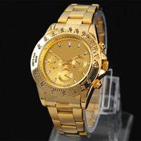 Wholesale Hottest New Business - 2017 hot sale man Military watch golden Stainless steel luxury Casual wristwatch steel quartz watches clock male brand watch Free shipping