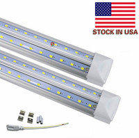 Wholesale Row Pack - Stock In US V-Shaped 8ft 65W LED Tube lights double row 8 foot T8 Integrated LED fluorescent lights AC85-265V 50pcs pack