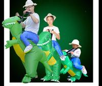 mono de navidad adulto al por mayor-Traje de dinosaurio inflable Jurrasic World Cosplay 3 tamaños de decoración de Halloween vestido de dinosaurio ropa inflable Navidad mono adultos