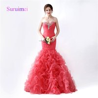Wholesale Art Teas - Sweep Train Mermaid Prom Dresses Sweetheart Off Shoulder with Crystal Robe De Soiree Formal Evening Gowns Ruffles Pleats