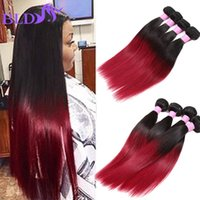 Ombre Hair Extensions Cabelo Humano Brasileiro Straight Two Tone Weft 1B BG Red Brazilian Straight Hair 3 Bundles