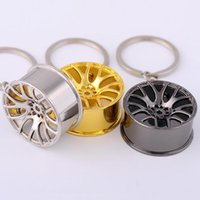 Wholesale Cool Car Hanging Accessories - New Design Cool Luxury metal Keychain Car Key Chain Key Ring creative wheel hub chain For Man Women Gift