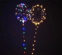 светодиодные лампы оптовых-Светящийся шарик BoBo LED воздушный шар прозрачный цвет вспышки загораются воздушные шары на Рождество Хэллоуин свадьба украшения дома баллоны