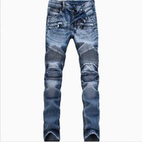 Wholesale Men Motorcycle Brand - Wholesale-Men Fashion Brand Designer Ripped Biker Jeans man Distressed Moto Denim Joggers Washed Pleated motorcycle Jeans Pants Black Blue