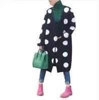 Wholesale Korean Knit Poncho - Wholesale-Hot Women Cardigans 2016 Autumn Winter Casual Sweater Poncho Dot Printed Cashmere Sweter Mujer Korean Long Cardigan feminino
