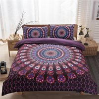 Wholesale Quality Silk Comforter Set - Bedding Sets High Quality Bed Set Bohemia Exotic Patterns Design Unique Purple 3 Pces Comforter Sets Drop Shipping