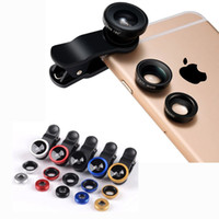 Wholesale Galaxy Camera Bag - 3 In 1 HD Universal Clip Camera Mobile Phone Lens Fish Eye Macro Wide Angle For iPhone Samsung Galaxy S8 Huawei OPPO SONY LG Fisheye OPP Bag