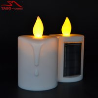 Wholesale Flickering Flameless - solar led candles memorial solar powered energy candle for cemetery with amber flickering light outdoor candle