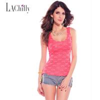 Wholesale Fluorescent Vests - Wholesale-blusas femininas Rosy Black Neon color Shirt Vest Sleeveless fluorescent LC25116 Lace Top new 2016 women t-shirt combinaison