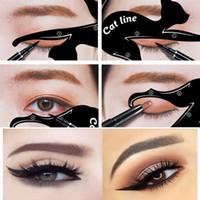 maquillar plantillas de herramientas al por mayor-Hot Popular Fácil Sombra de ojos Eyeliner Maquillaje Herramientas Plantilla de tarjeta de maquillaje de kit de plantilla de delineador de ojos