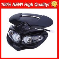 Wholesale dual motorcycle headlight - Universal DC 12V 18W Motorcycle Dual Headlights Fairing Head Lamps High Low Beam Waterproof Driving Fog Spot Head Light Headlight Head Lamp