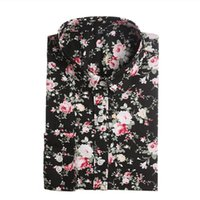 Wholesale Women S Floral Print Tops - New Women Floral Shirts Cotton Long Sleeve Shirt Women Floral Print Shirt Casual Ladies Blouse Turn Down Collar Women Tops
