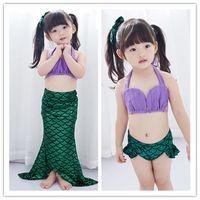 Wholesale Pretty Girl Costumes - Big Girls pretty Mermaid Swimwear 3pc set tube top mermaid maxi skirt pants Baby girls performance cosplay costume 6sizes for 2-10T