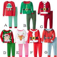 Wholesale Winter Clothings - 2017 Xmas autumn winter Pajamas children warm Sleepwear Santa Deer Christmas print sleepwear Set Striped Cotton Outfits Christmas clothings