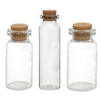 Wholesale Glass Wish Box - Wholesale- 5PCs Small Vase Tiny Glass Bottle Jewelry Vial Potion Tie Plug Glass & Wooden Box Wishing Gift Jewelry Storage Box Organizer