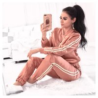 Wholesale Classic Ladies Blouses - 2017 Sexy European and American classic leisure suit Long sleeved blouse + trousers, night run, ladies suit