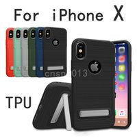 Wholesale Fit Slip - Armor Drawing Case with Stand Defender Hybrid PC TPU Non-slip Phone Case Cover for iPhone X 8 7 6 6s Plus