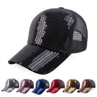 Wholesale Wholesale Seven Hats - Seven new summer net cap Square sequins hats Ms baseball cap outdoor sun hat Sun hat manufacturer