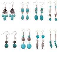 Wholesale Fashion national style accessories and turquoise stone earrings the sale of the selling earrings of the manufacturer directly CA322