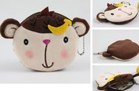 Vente en gros - Kawaii Cartoon Lover Banana Monkey - 10cm Mousseline en coton Lady Kid's Coin BAG Case Purse; Porte-clés Portefeuille; Sac à main BAG