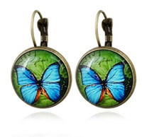 Wholesale Butterfly French - Vintage Cabochon Earrings Butterfly Handmade National Style Glass French Hook Earrings For Girls  Ladies