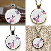 Wholesale Chain Link Purse - 10pcs Mary Poppins Art Print flying girl with umbrella and purse Glass Photo Necklace keyring bookmark cufflink earring bracelet