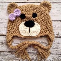 Wholesale bear hat crochet for sale - Group buy Adorable Little Teddy Bear Earflap Hat Handmade Knit Crochet Baby Girl Animal Hat with Purple Bow Kids Winter Cap Infant Toddler Photo Prop