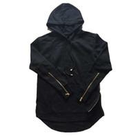 zipper branco cinza hoodie venda por atacado-Preto dos homens Cinza Branco Moletom Com Capuz Manga Raglan Novo Novo Streetwear Zipper dos homens Clássicos Com Capuz Zipper Hoody dos homens Hiphop Jaqueta Longa