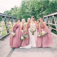 Wholesale Cheap Eveing Gowns - Exquisite Cheap Bridesmaid Dresses V-Neck Chiffon A-Line Custom Made Sleeveless Formal Eveing Gown 2017 Pleats Sash Floor Length Bridesmads'
