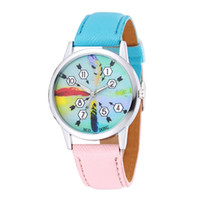 Wholesale Dresses Coupons - 2017 wholesale new arrow and feather unisex lovers mens women coupon leather watch simple double colors bands dress party watch