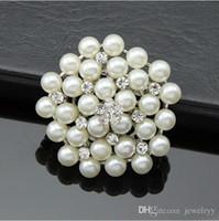 ingrosso perni di corallo perla-Sposa Wedding Bouquet Pearl Spilla argento imitazione strass Fiore Spille Pins corpetto di cristallo Uomini Donne Wedding Breastpin gioielli