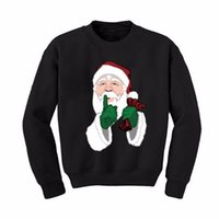 Wholesale Velvet Fashion Blouse - Wholesale- 2016 Women Men Autumn Winter Long Sleeve Warm Sweatshirt Pullover Top Santa Print Velvet Shirt Blouse Christmas Hoodie Plus Size