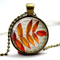 Wholesale Autumn Pendants - 10pcs lot Leaf Jewellery Fall jewelry Autumn Leaves 2Glass Photo Cabochon Necklace
