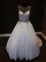Wholesale Customer Wedding Dresses - Real Image Customer Size Beads Bateau Neckline Beaded Sash Floral Lace Appliques COR-101 Bridal Gown Wedding Dresses